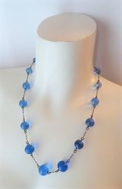 "Amazing Art Deco Blue ""Pools of Light"" Necklace"