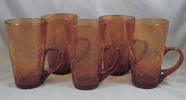 Vintage Set of (5) Bischoff (West Virginia) Crackle Art Glass Mugs