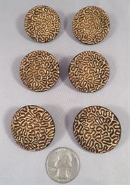 (6) Antique Gilt Black Glass Buttons