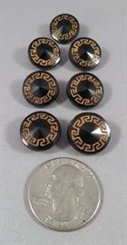 Elegant Rivoli Shaped Black Glass Buttons with Gilt Greek Key Motif