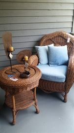 Palacek rattan chair and table (WITH TAGS)