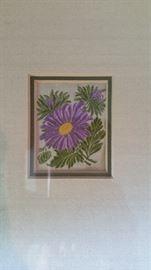 Framed silk flower
