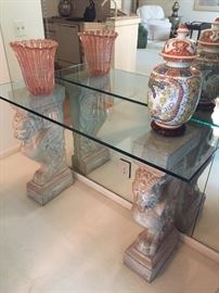 Side Table /Entryway Table - ceramic and Glass, Asian Ceramic vases and hand-blown glass vase