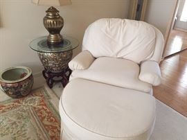 Arm Chair with ottoman, asian pots and brass lamp