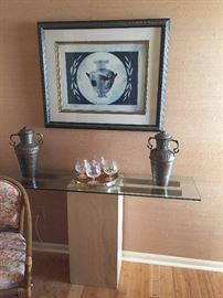 Stone and Glass sofa table, pewter urns, and lovely framed print