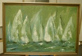 Impressionism painting on canvas board of sailboats. Signed DL Cannon. Daniel George Cannon??? Mid-20th century. 24x36""