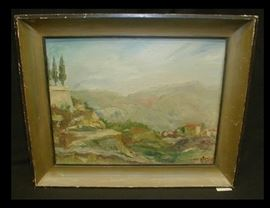 French Impressionist painting on canvas board of a Mediterranean landscape. Signed Rubens with a stamp from Cannes, France. 16 x 12 7/8""