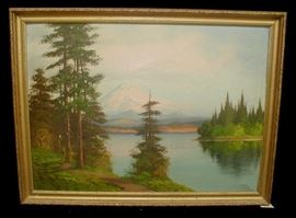 "1920's landscape painting on panel of Mt. Rainier. Frame is 28.25 x 21.5"". The panel is convex and there is a crack in the paint on the lower right corner"