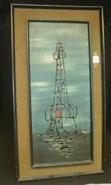 Mid-century impressionist painting of an oil rig. Outer frame is 20 x 37""