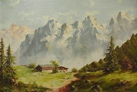 "Paul Arndt(New York,1881-1978) Large mountain landscape oil on canvas with Bavarian Chalet in the foreground. Signed lower left ""ARNDT"". With frame 34.5 x 45.75"""