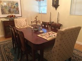 Beautiful mahogany dining room table and chairs Oriental rug
