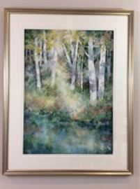 Lot 001. Original Nancy Rankin Painting. Beautiful original painting of a thick of trees by a river, 38.5 x 30.5 inches framed