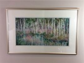 Lot 002. Original Nancy Rankin painting, landscape format, view of a tree lined stream with colorful foliage, original, 25.25 x 39.25 inches framed.