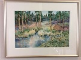 Lot 003. Nancy Rankin original painting, landscape of a fir tree lined pond in the forest, 22.5 x 29.5 inches framed.
