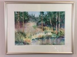 Lot 004.Nancy Rankin original painting, landscape of fir trees around a pond with a trail leading to the horizon, 22.5 x 29.5 inches framed.