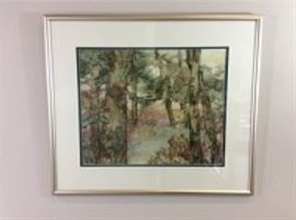 Lot 005: Nancy Rankin original painting of trees close up in a thicket, 27.25 x 31.5 inches framed.
