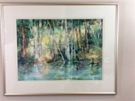 Lot 006: Nancy Rankin original painting of trees reflected in a pond, 31.5 x 39.5 inches framed.