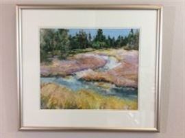 Lot 007: Nancy Rankin original painting of a meandering stream in an open forest, 22.5 x 25.5 inches framed.