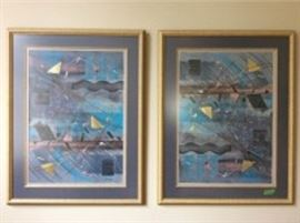 Lot 010: Titled Taos, signed but artist name is illegible, bold and bright colors with gold leaf additions, two panels each measuring 37 x 29 inches framed.