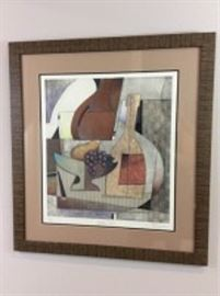 """Lot 011: """"Golden Pear"""" Original painting by Artist Karen Osgood. still life with wine bottle, a pear and grapes, edition 65 of 275, 30.5 x 28 inches framed."""