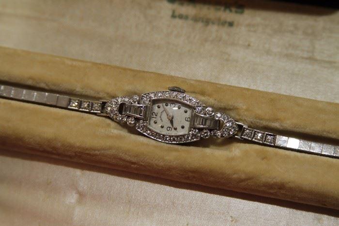 Vintage Hamilton 14k White Gold and Diamond Ladies Watch
