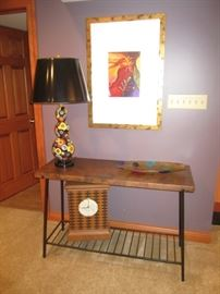 GREAT TABLE, LAMP, AND ART