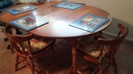 Solid wood kitchen table and chairs.