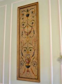 One of four hand painted framed panels
