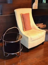 Art Deco side table and one of a pair of ultrsuede chairs