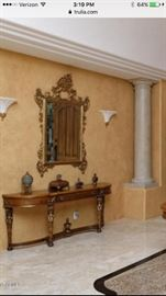 Beautiful entry console & antique mirror