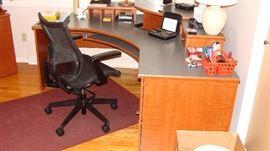 Maple corner computer desk and cabinet