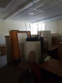 cubicals, student desks, file cabinets (various sizes), room dividers, swivel chairs, lighting fixtures