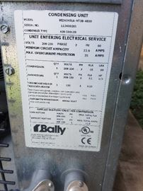 Condensing Unit for Bally walk in freezer, model number and contact information all included.  looks new and works great. fully wired and installed correctly. Decommissioning at no cost to buyer