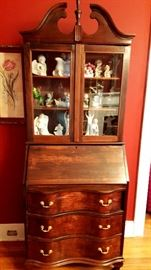 Close up of mahogany secretary.  There are two of these.
