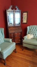 Secretary and pair of wing chairs.