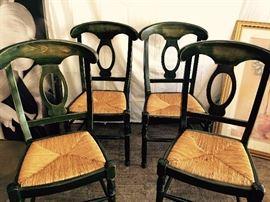 4 green farmhouse rush chairs
