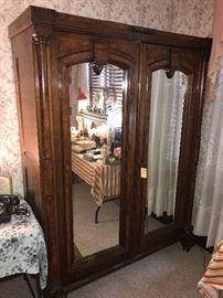 Massive Antique Walnut Wardrobe With Mirrors ~ Beautiful