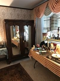 Massive Antique Walnut Wardrobe With Mirrors ~ Beautiful ~ Antiques & Collectibles