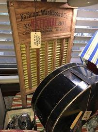 Vintage Mallory Hatbox ~ Antique National Washboard Company #801 Washboard
