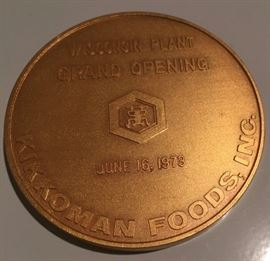 Kikkoman Foods Walworth Wisconsin Grand Opening June 16, 1973 Commemorative Coin, with picture of Plant Facility on opposite side