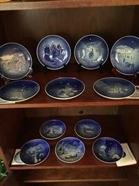 Twelve wonderful Bing and Grondahl Copenhagen Blue Porcelain Christmas Plates