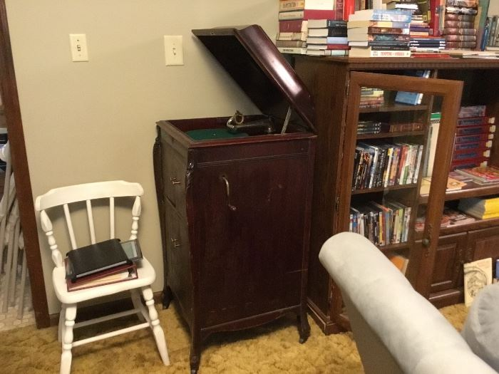 Antique Victrola, small chair, entertainment center - some of the books