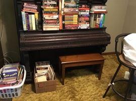 Children's books, cookbooks, piano stool & piano