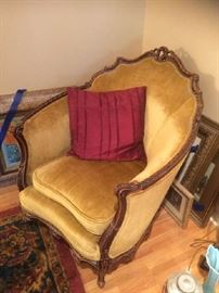 Antique Victorian accent chair in gold velveteen that matches sofa
