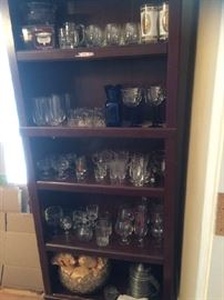 Bar ware, wine glasses, shot glass collection, pewter ice bucket. Vintage cut glass punch bowl with 12 glasses.