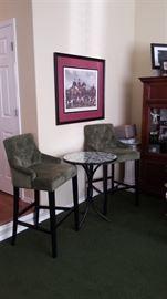 Green bar stools tall bar table