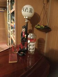Retro bar accessories...Charlie Chaplin lamp