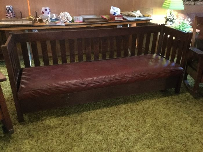 Antique mission style settee