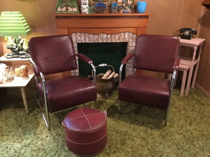 Troy Sunshade by Gilbert Rohde leather chairs