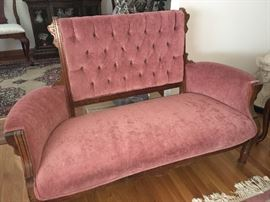 East lake Walnut love seat sofa